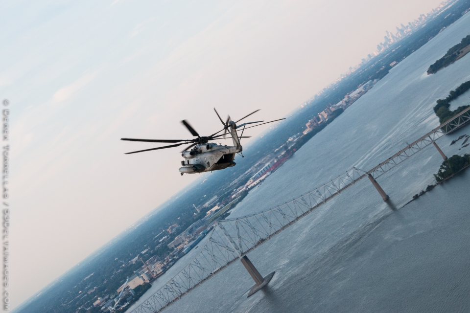 Dash-1 banks right over the Delaware River near Philadelphia